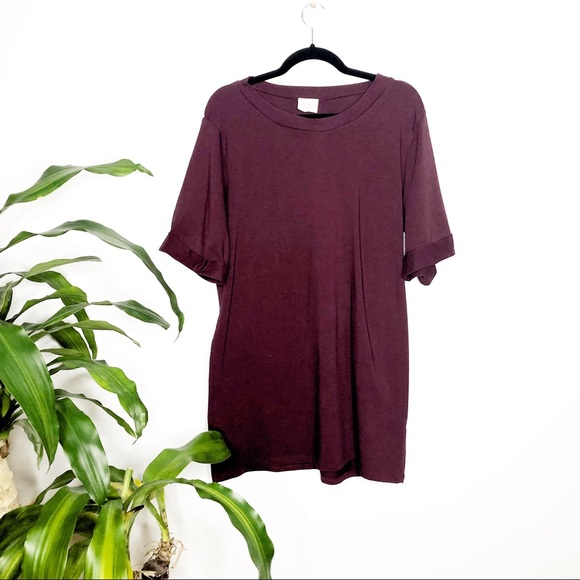 audrey Dresses & Skirts - Audrey Burgundy T-Shirt dress w/ rolled sleeves
